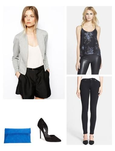 This sequin top add the perfect amount of sparkle to this date night look while the blue clutch adds a nice pop of color.