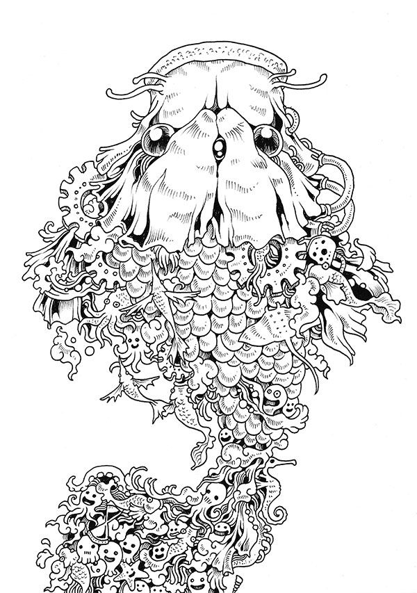 Doodle Invasion Zifflins Coloring Book Fish Dog Artwork