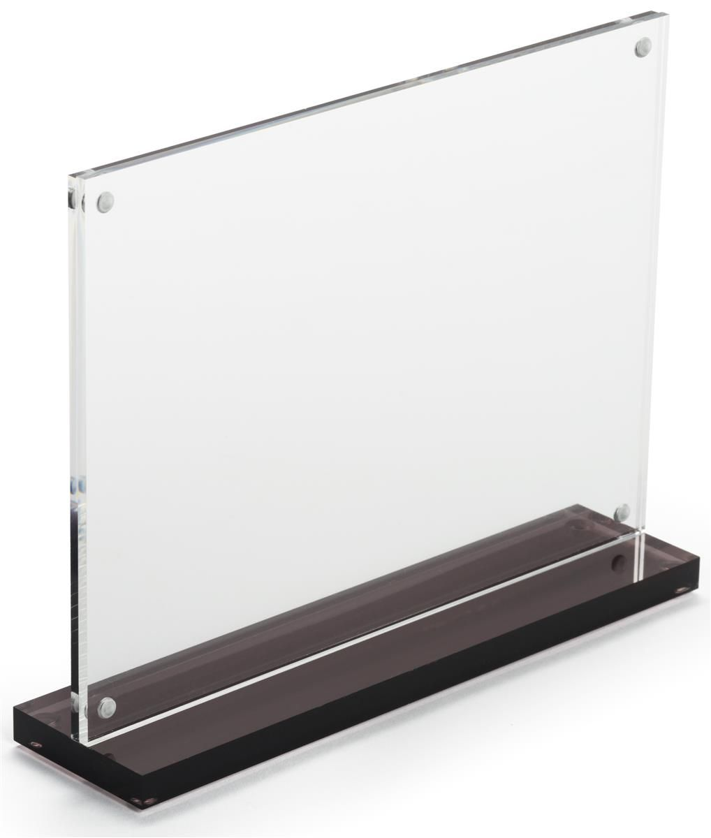 7 X 5 Tabletop Acrylic Sign Holder Magnetic Closure Smoke Base Clear Sign Holder Retail Signs Acrylic Sign