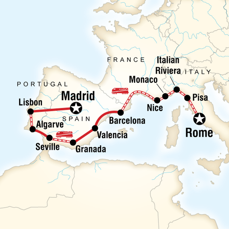 Carte du circuit   Travel tours, France itinerary, Portugal travel