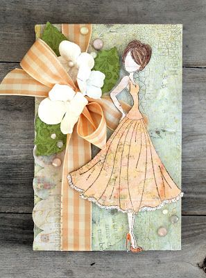 Card by Cari Fennell for Prima/ Sizzix using Julie Nutting Doll Stamp, Arbor Die and Frost flowers. #sizzix #primamarketing #julienutting