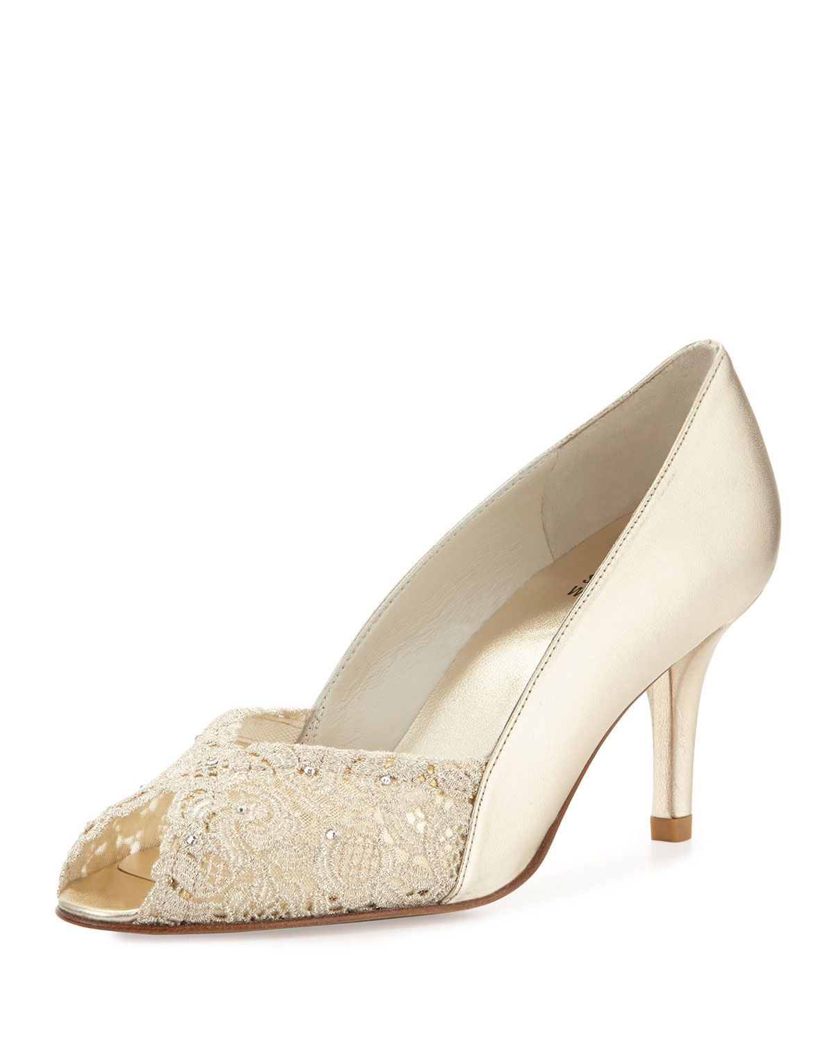 b7af4aca442 Chantelle Lacy Peep-Toe Pump Gold | *Neiman Marcus* | Peep toe pumps ...