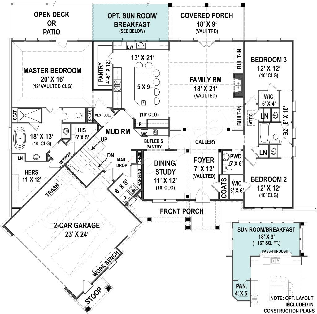 Small House Craftsman Floor Plan Ranch House Plans
