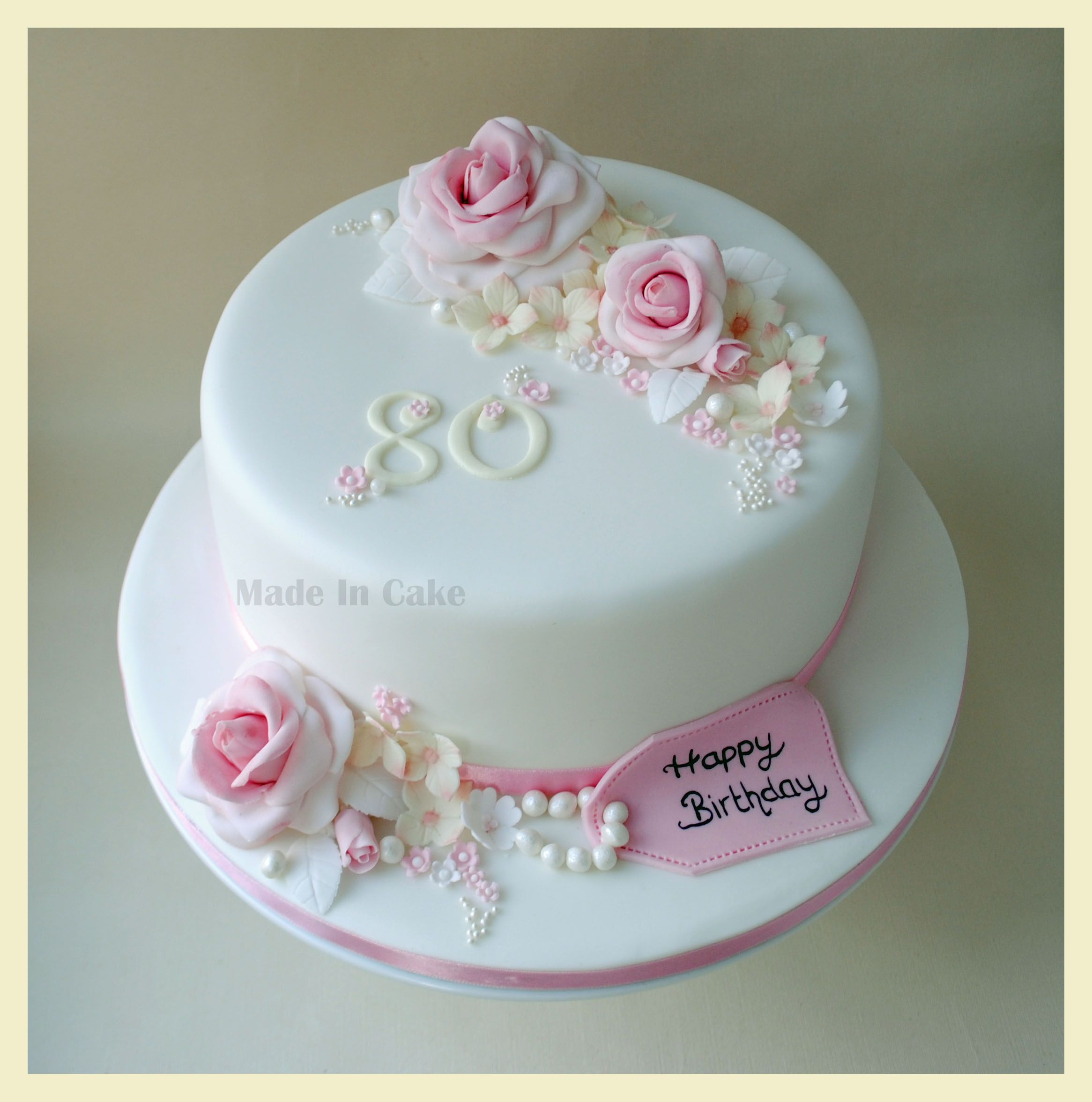 Flowers 80th Birthday Cake Tortaspasteles Pinterest 80th