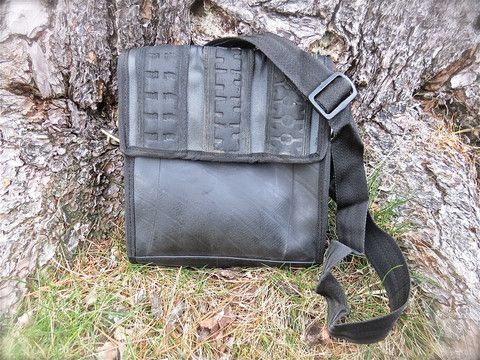 Dina Tyre Bag - Handmade bag from India crafted from bicycle tubes & seat belts. Flap with hidden magnetic closure.SOLD OUT