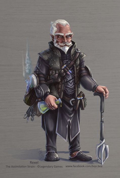 Rexel, the elder, gnome mage, wizard, alchemist, sorcerer, white