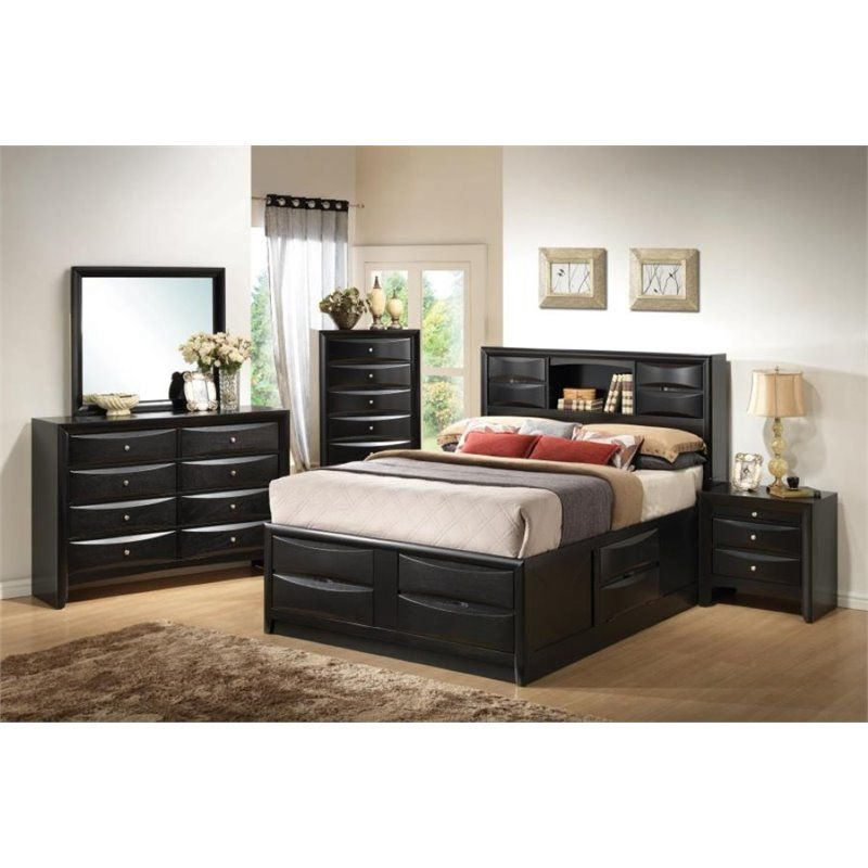 Coaster Briana 5 Piece California King Storage Bedroom Set in Black