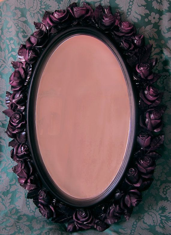 Black Rose Mirror Syroco Style Purple Fuchsia Highlights