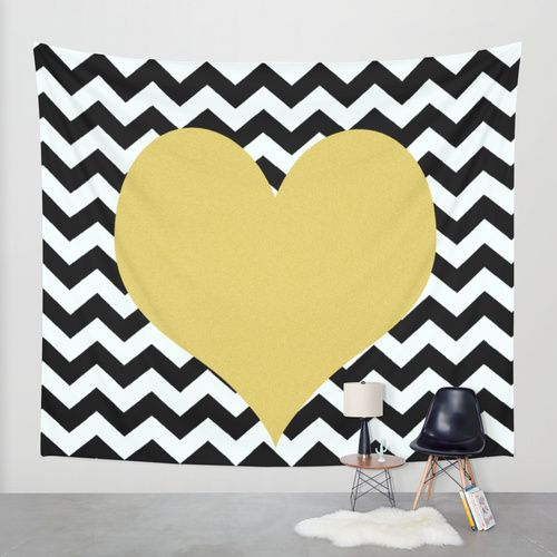 Gold Heart Wall Tapestry by Haroulita | Society6 #chevron #walldecal ...