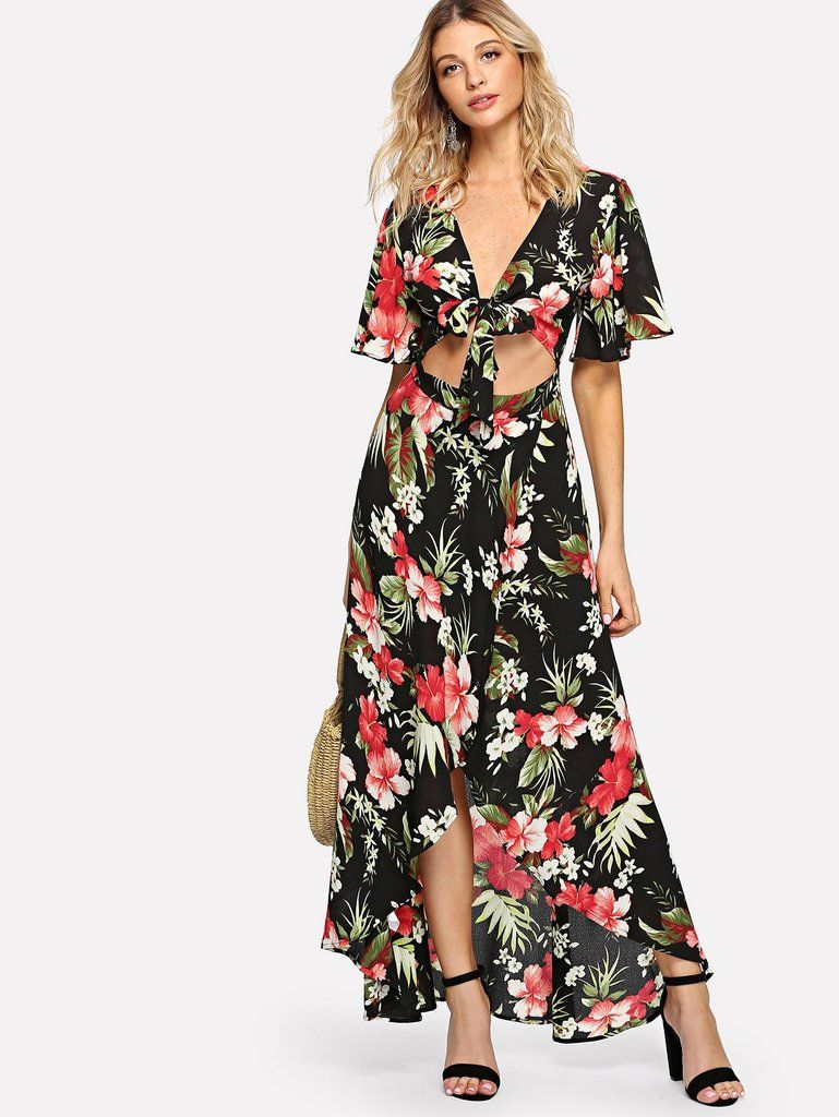 Beachwear Floral Cut Out Pattern Cover Up Bohemian Style