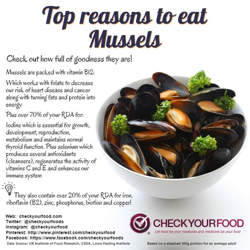 The Health Benefits Of Mussels Check Your Food Nutrition Healthy Benefits Food