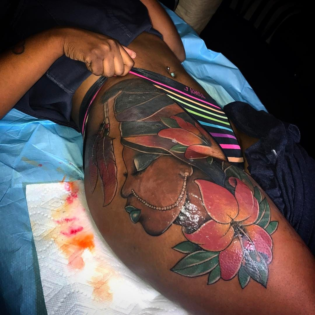 Black Ink Rose Tattoo On Girl Right Hip: Follow @SheSoBoujie For More Poppin' Boujie Pins