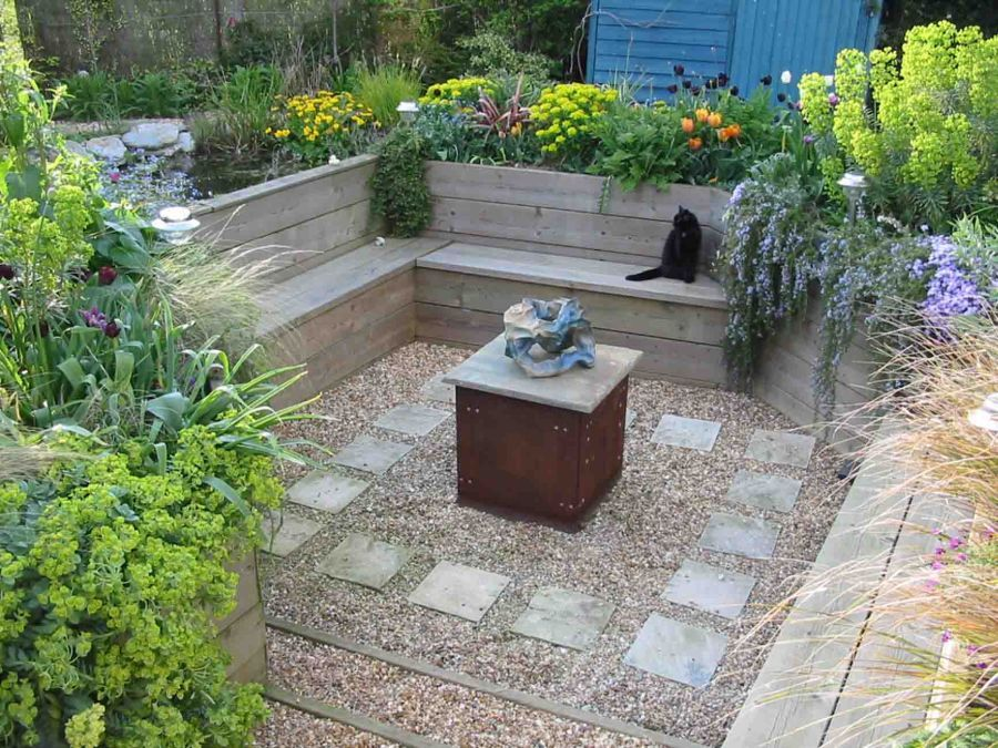 Image Result For Making A Sunken Patio With Rail Wood