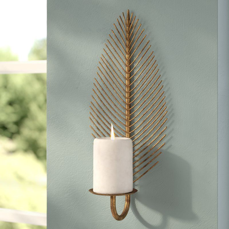 Visual Intrigue Abounds With This Statement Making Metal Wall Sconce Showcasing A Candle Holder Design Its Open Candle Wall Decor Wall Candle Holders Candles