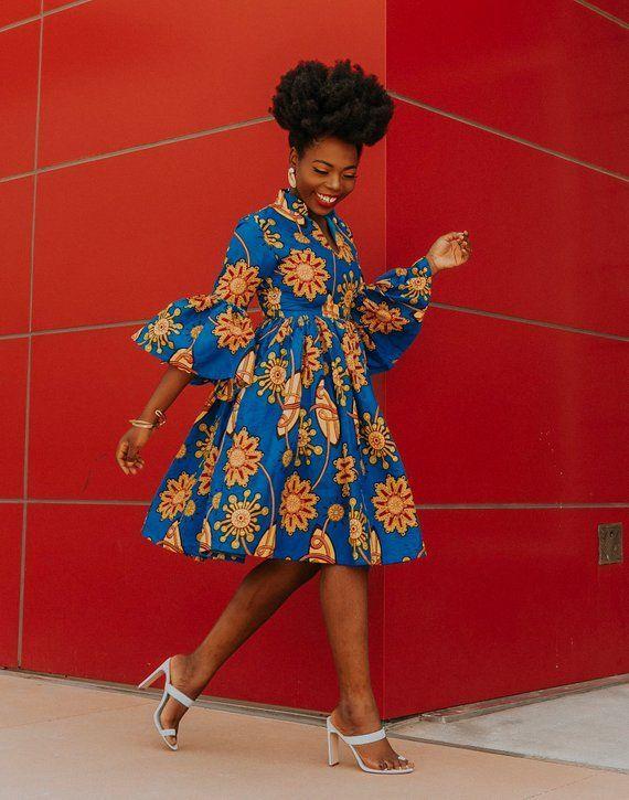 Ankara Kleid Afrikanische Kleidung Afrikanisches Kleid Afrikanisches Print Kleid Afrikanische Mode Damenbekleidung Afrikanischer Stoff Kurzes Kleid Sommerkleid #afrikanischekleider