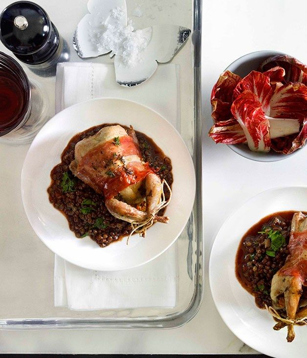 Australian Gourmet Traveller recipe for thyme-roast quail with prosciutto and red wine lentils.