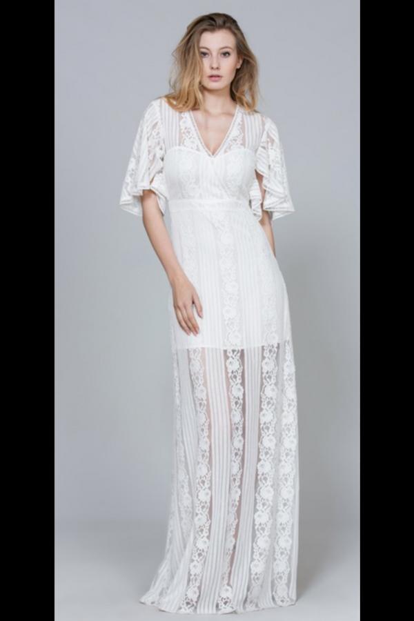 b3a157680d VINTAGE STYLE LACE MAXI DRESS, bridal dress, white lace dress, wedding dress,  boho bride, wild bride, bohemian bride, engagement photo dress, vintage  style ...