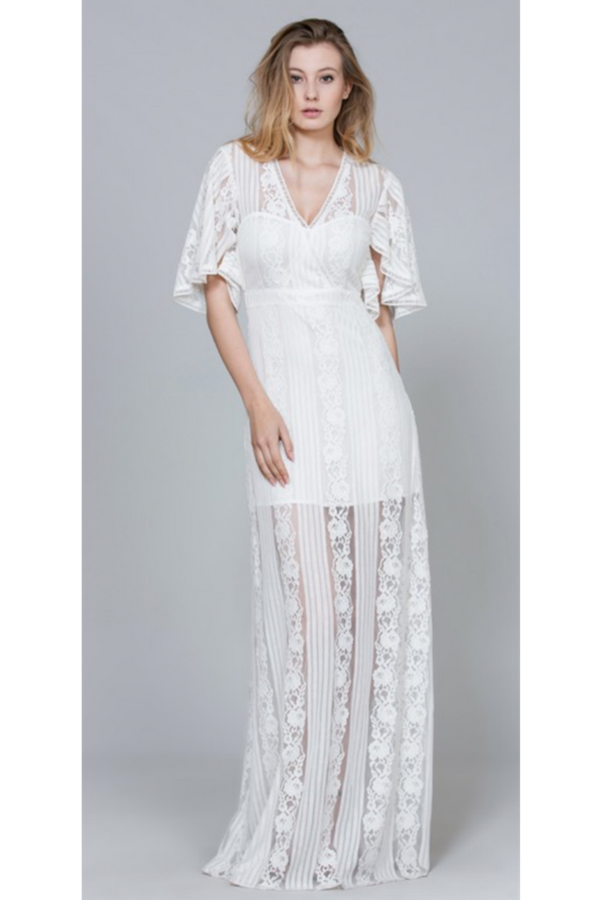 Vintage Style Lace Maxi Dress Bridal Dress White Lace Dress
