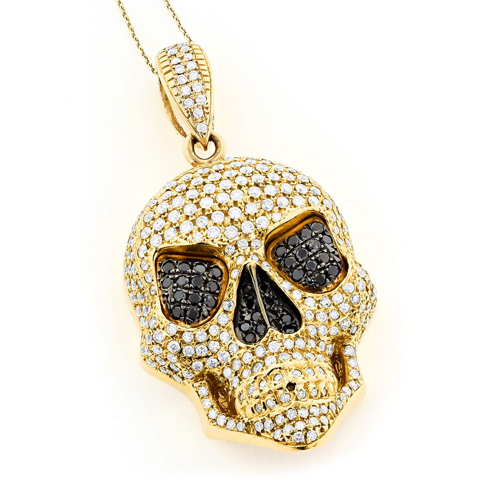 14k Gold Mens White Black Diamond Skull Pendant 9 17ct Skull Pendant Diamond Skull Black Gold Jewelry