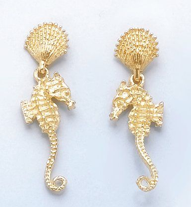 Amazoncom 14k Gold Nautical Shell Seahorse Double Dangle