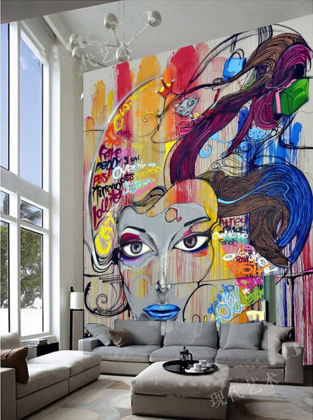 Grote muurschildering behang kleur graffiti de woonkamer TV ...