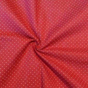 Baumwollstoff in Hemden-Qualität in rot mit weißen Punkten