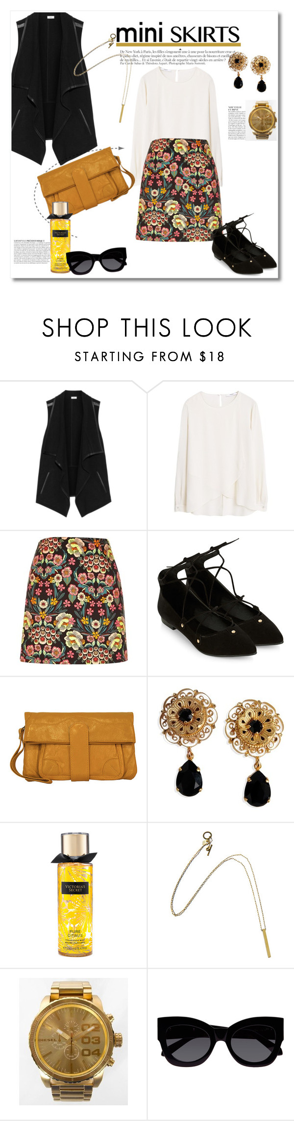 """""""Get the look"""" by vkmd on Polyvore featuring Vince, MANGO, Accessorize, Anja, Latico, Dolce&Gabbana, Diesel, Karen Walker and MINISKIRT"""