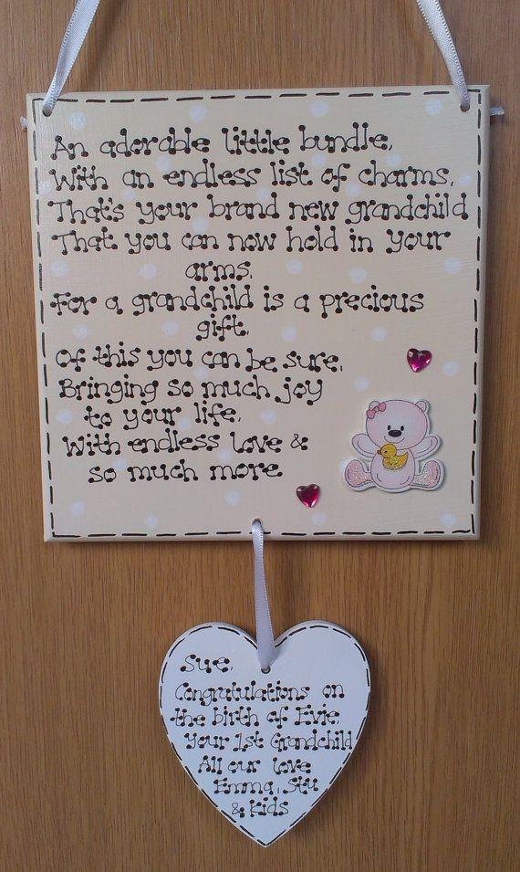 Personalised New Nanny Grandma Grandchild Grandparents Baby Poem