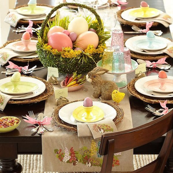 Easter table decorating ideas table runner with embroidery easter basket centerpiece : easter table setting ideas - pezcame.com