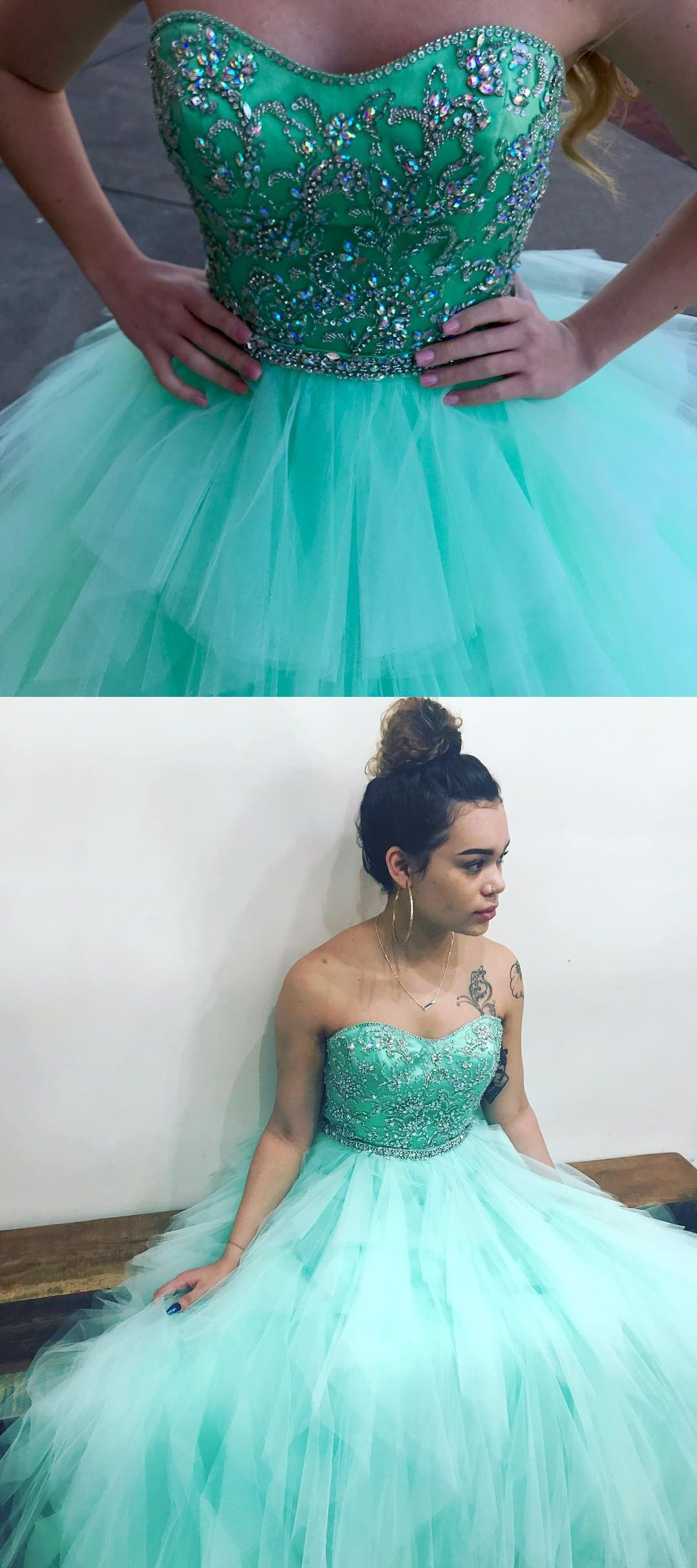 Mint green dress prom  Beaded Sweetheart Mint Green Long Ball Gown from dreamdressy