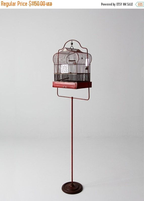 antique bird cage with stand, red Crown birdcage, decorative bird