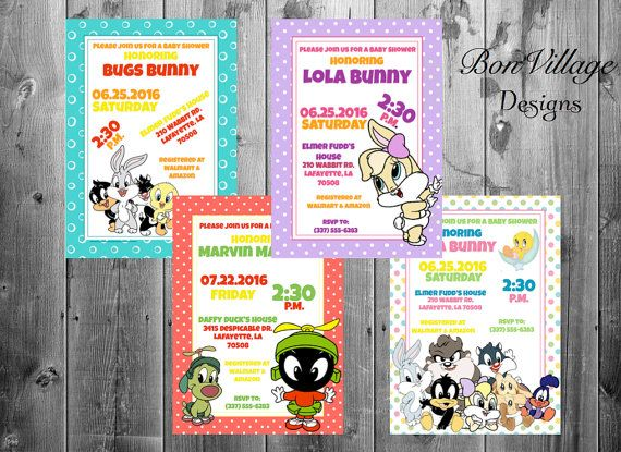 Invitations Looney Tunes Lola Bunny Marvin the by BrandDeLis tiny