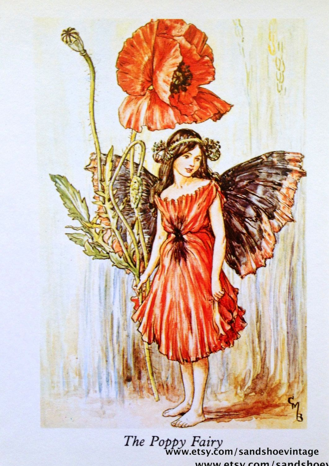 1930s The Poppy Fairy Cicely Mary Barker Print Ideal For Framing