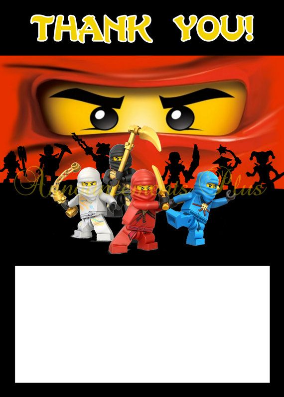 4x6 Ninjago Thank You Card By Announcements Plus 8 00 Matching