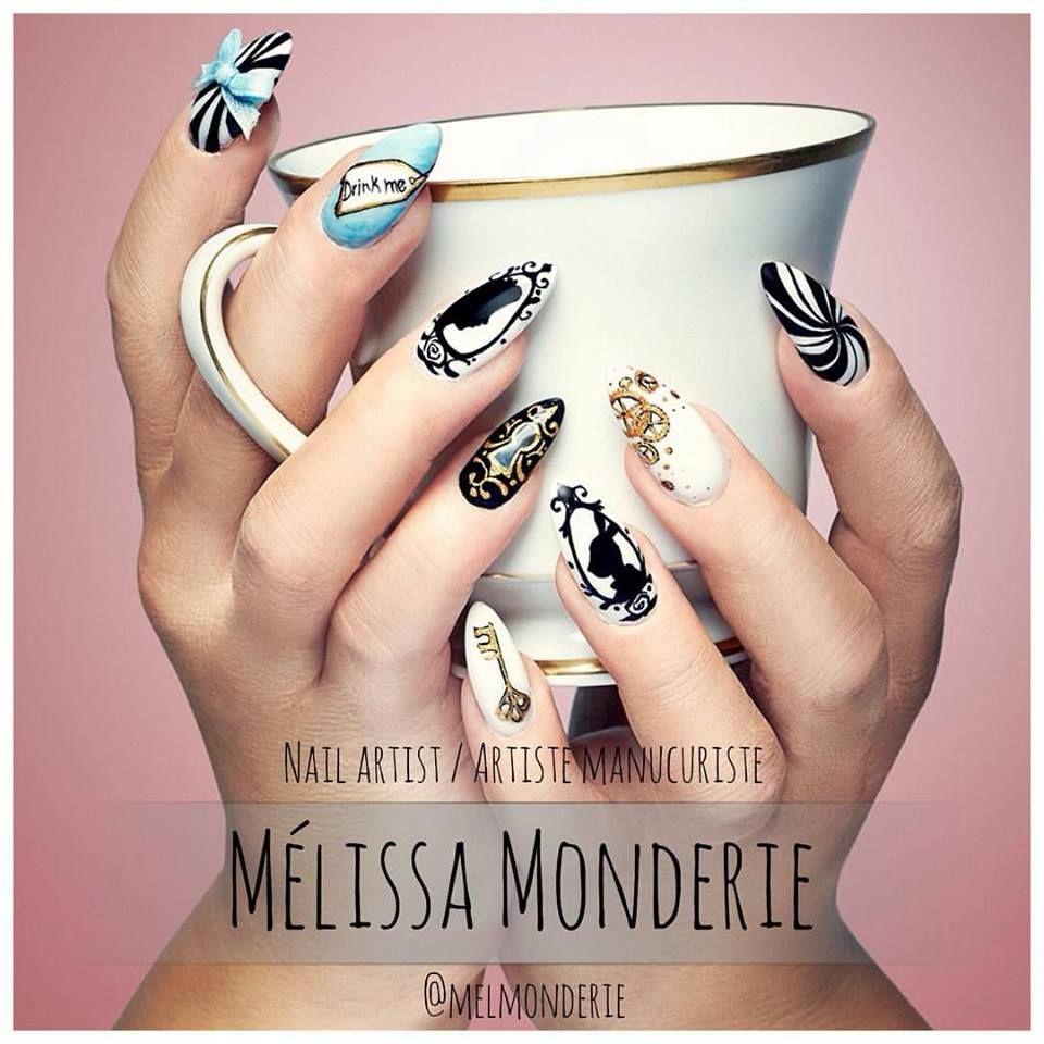 Nail Art. Nail artist: Mélissa Monderie. Theme: Alice in wonderland.