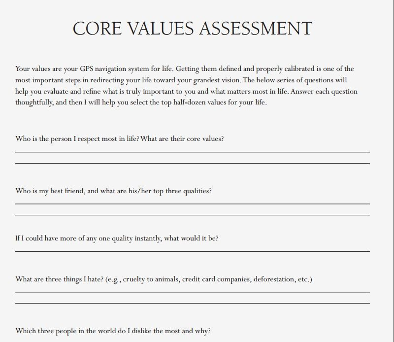The Compound Effect Resources Darren Hardy Assessment Core Values This Or That Questions