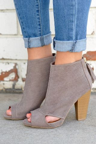 3ab467989dc These gorgeous faux suede booties are anything but ordinary! Featuring  square perforations