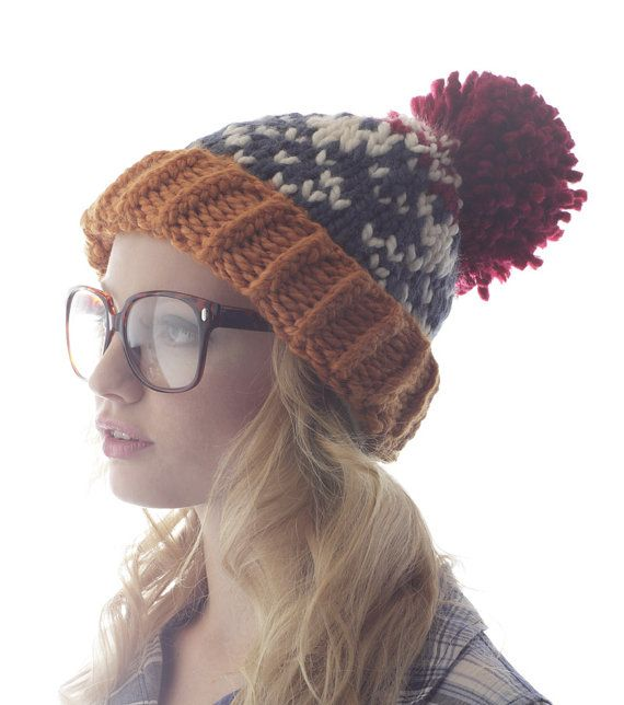 Ski Sweater Pom Pom Hat - Fair Isle Orange, Red and Blue Print