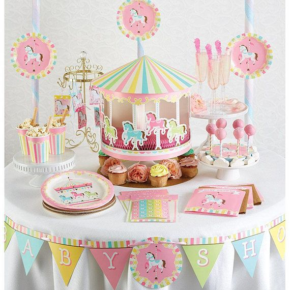 Giant Pastel Carousel Baby Shower Banner/ Carousel Party