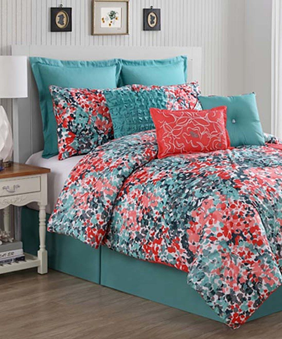 Look At This Turquoise Coral Yorke Comforter Set On Zulily