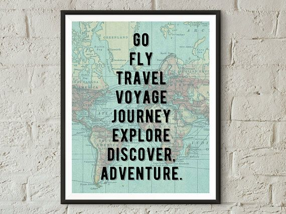 World Map Wall Art Travel Poster Travel Print Travel Quotes Adventure Travel Quote Print Travel