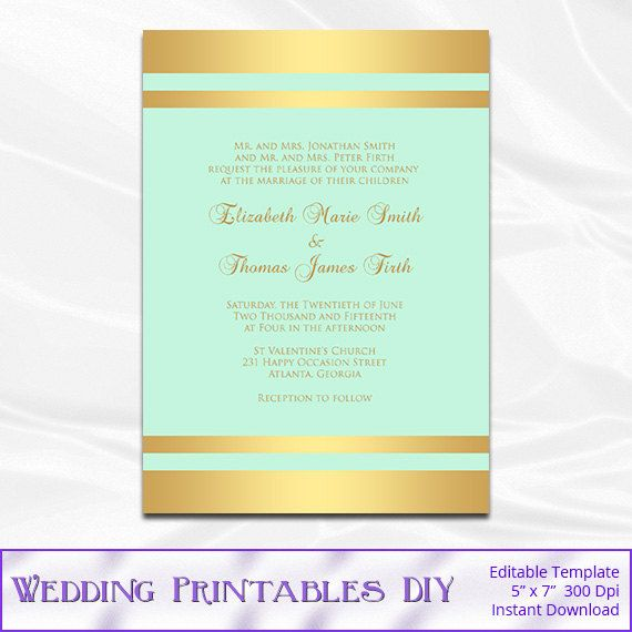 Blush And Gold Wedding Invitation Template By Weddingprintablesdiy
