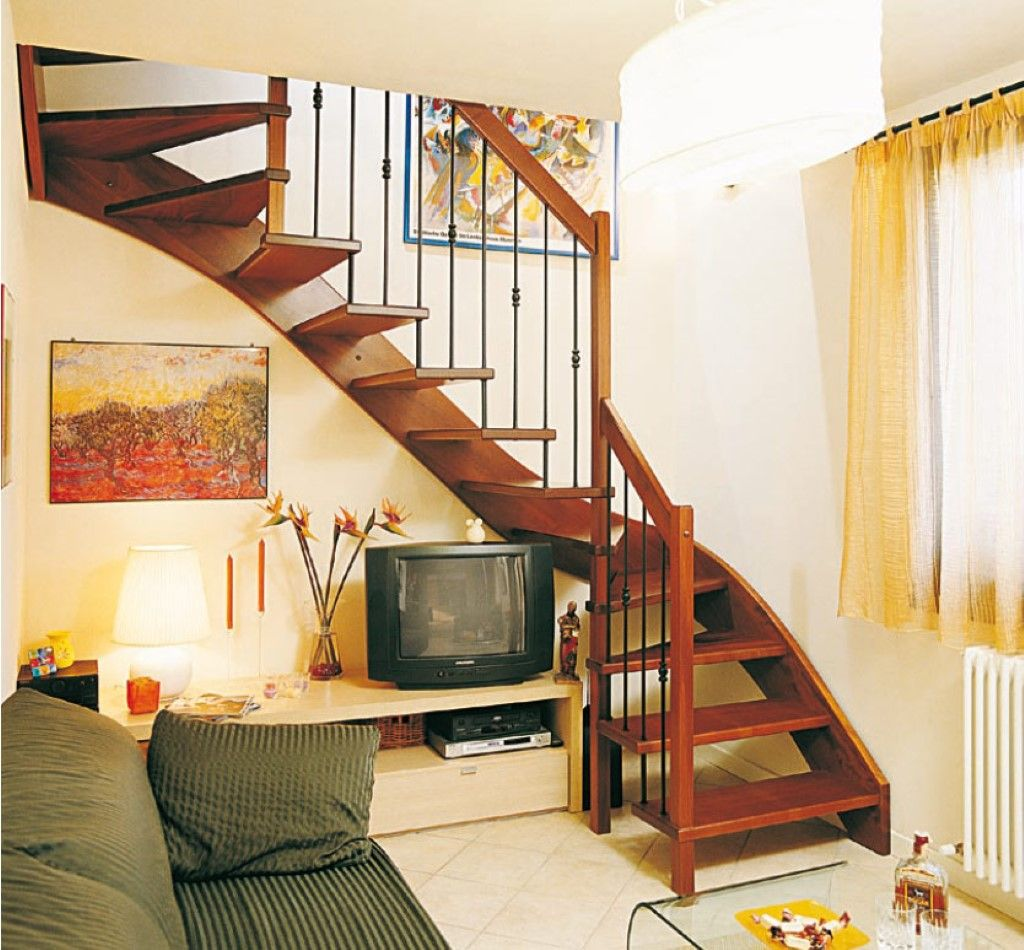 51 Stunning Staircase Design Ideas: Stairs To Attic Ideas: Yellow Living Room Curtain And
