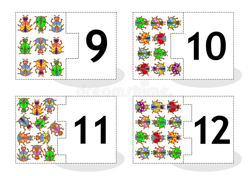 Learn counting puzzle cards with bugs and beetles, numbers