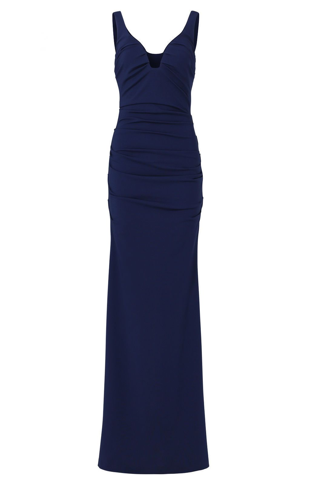 Nice great nicole miller navy blue plunge crepe womenus size gown