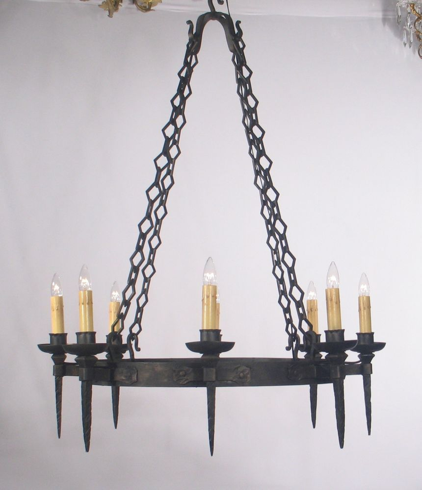 Antique Spanish Black Wrought Iron Chandelier With Hammered Finish