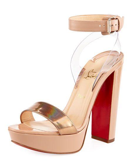 a79b160139c Cherry Patent Platform Red Sole Sandal | Want! | Block heel platform ...