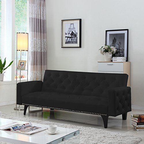 Modern Tufted Bonded Leather Sleeper Futon Sofa With Nailhead Trim In  White, Black (Black