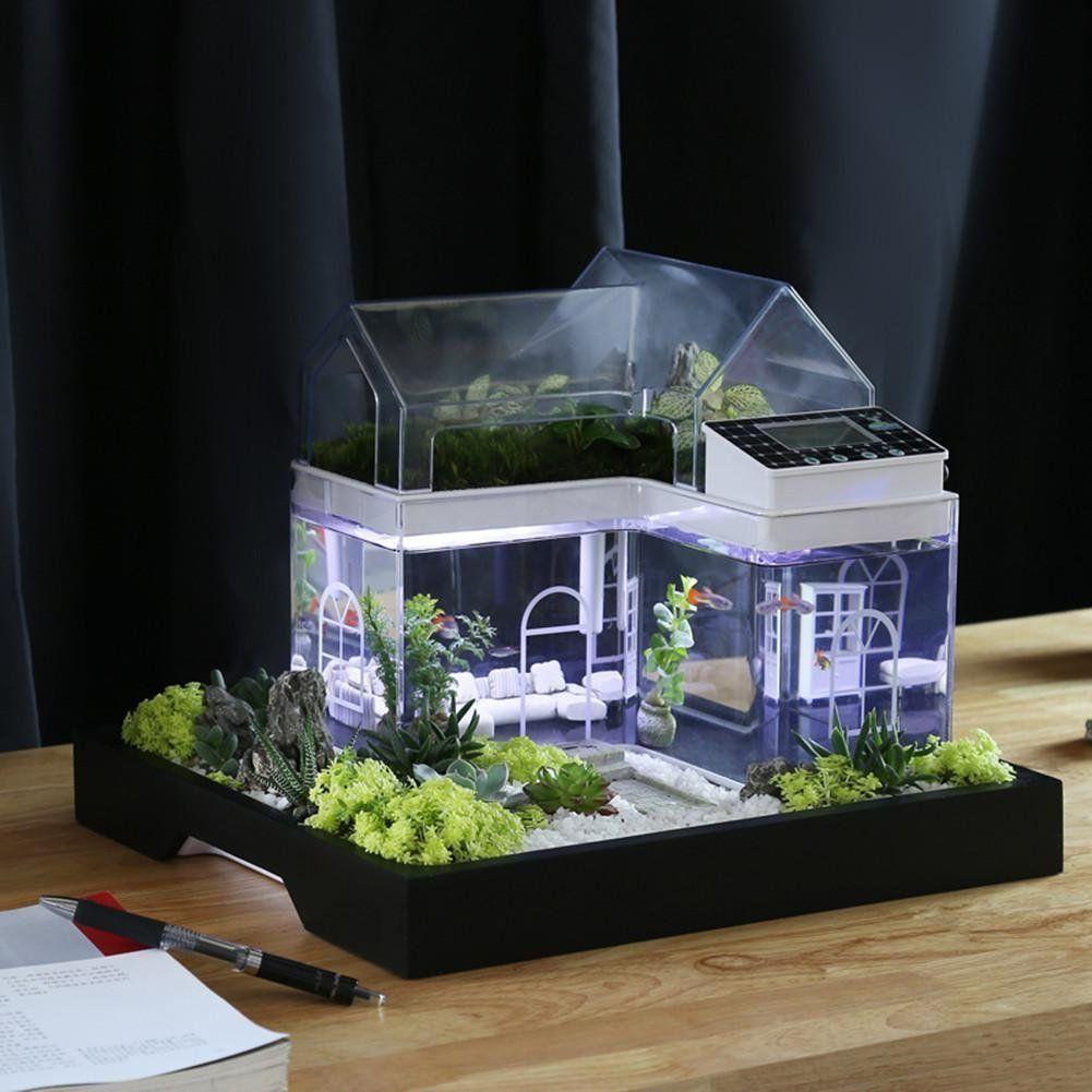 Aquarium Haus Almhutte Hohle Versteck Deko Led In 4 Farben Deko Aquarium Dekoration