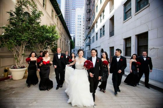 The bridal party looks sharp in all black! | Black Wedding Ideas ...